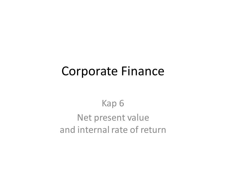 Internrenten til differansekontantstrømmen Internrenten til differansekontantstrømmen viser hvilken kapitalkostnad som gjør at alternativene har lik nåverdi.
