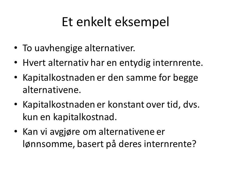 Et enkelt eksempel • To uavhengige alternativer.• Hvert alternativ har en entydig internrente.