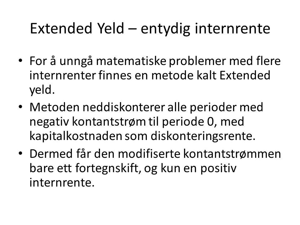Extended Yeld – entydig internrente • For å unngå matematiske problemer med flere internrenter finnes en metode kalt Extended yeld.