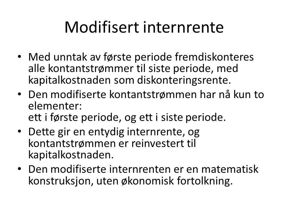 Modifisert internrente • Med unntak av første periode fremdiskonteres alle kontantstrømmer til siste periode, med kapitalkostnaden som diskonteringsrente.