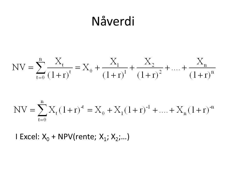 Nåverdi I Excel: X 0 + NPV(rente; X 1 ; X 2 ;…)