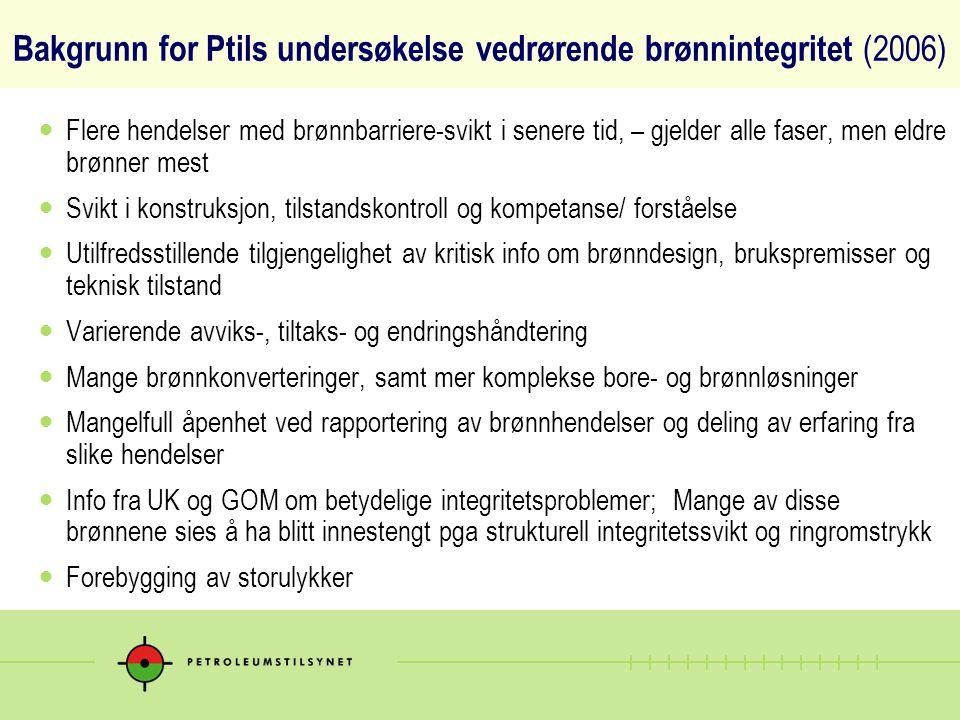 Bakgrunn for Ptils undersøkelse vedrørende brønnintegritet (2006)  Flere hendelser med brønnbarriere-svikt i senere tid, – gjelder alle faser, men el