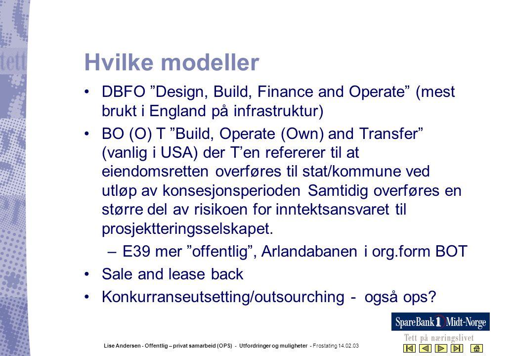 """Lise Andersen - Offentlig – privat samarbeid (OPS) - Utfordringer og muligheter - Frostating 14.02.03 Hvilke modeller •DBFO """"Design, Build, Finance an"""