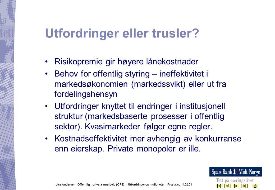 Lise Andersen - Offentlig – privat samarbeid (OPS) - Utfordringer og muligheter - Frostating 14.02.03 Utfordringer eller trusler? •Risikopremie gir hø