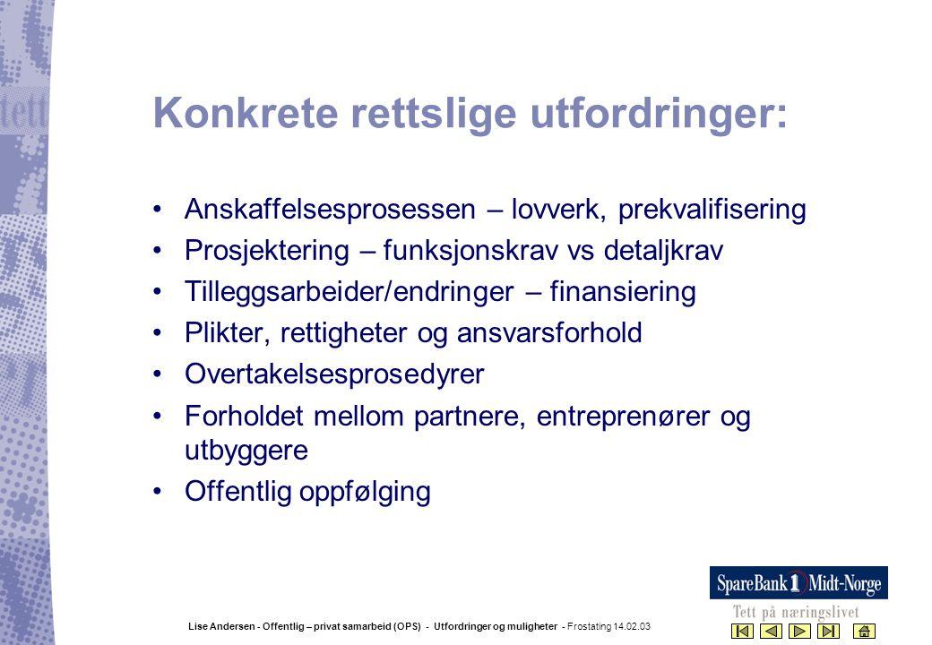 Lise Andersen - Offentlig – privat samarbeid (OPS) - Utfordringer og muligheter - Frostating 14.02.03 Konkrete rettslige utfordringer: •Anskaffelsespr