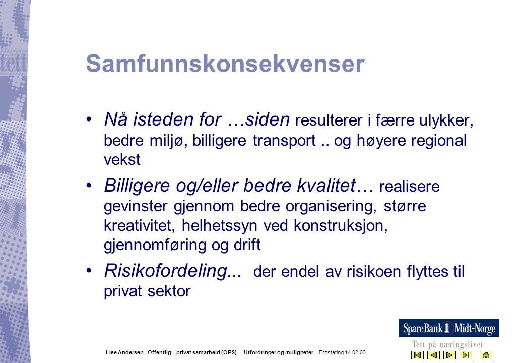 Lise Andersen - Offentlig – privat samarbeid (OPS) - Utfordringer og muligheter - Frostating 14.02.03 Samfunnskonsekvenser •Nå isteden for …siden resu