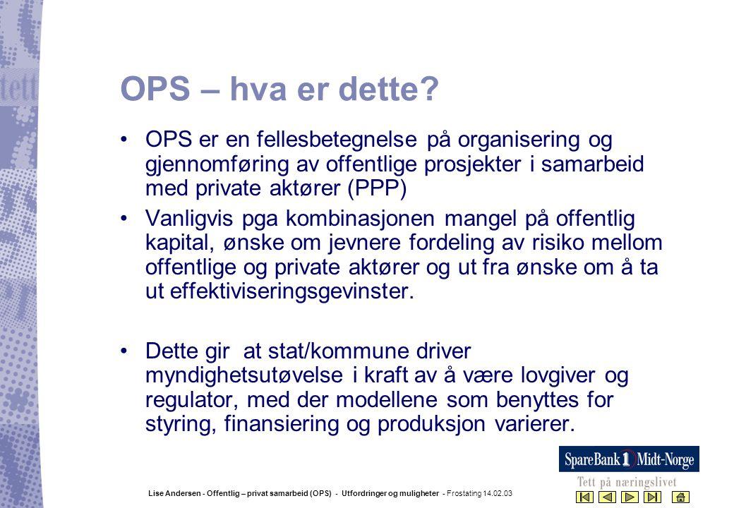 Lise Andersen - Offentlig – privat samarbeid (OPS) - Utfordringer og muligheter - Frostating 14.02.03 OPS – hva er dette? •OPS er en fellesbetegnelse