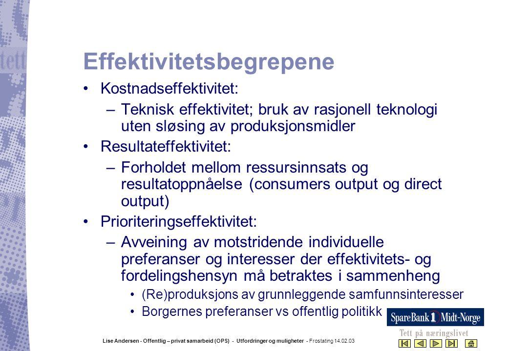 Lise Andersen - Offentlig – privat samarbeid (OPS) - Utfordringer og muligheter - Frostating 14.02.03 Effektivitetsbegrepene •Kostnadseffektivitet: –T
