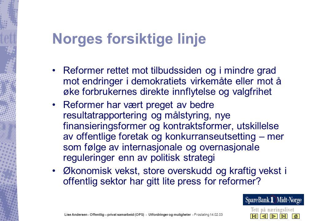Lise Andersen - Offentlig – privat samarbeid (OPS) - Utfordringer og muligheter - Frostating 14.02.03 Norges forsiktige linje •Reformer rettet mot til