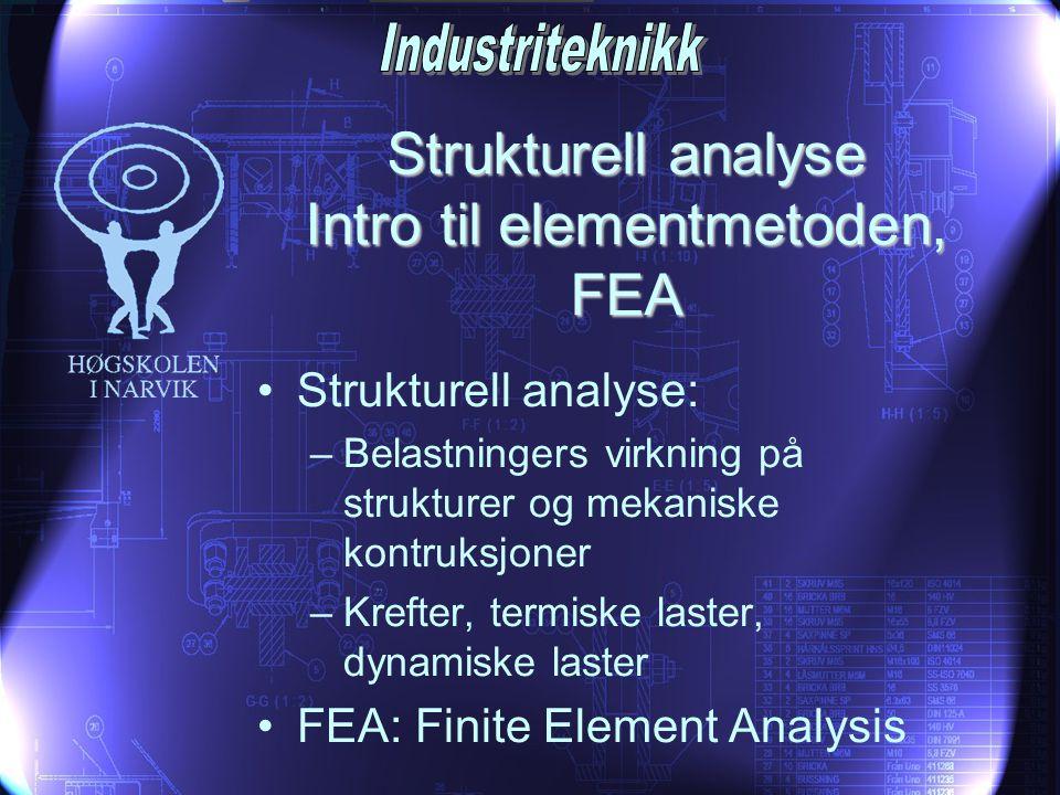 Strukturell analyse Intro til elementmetoden, FEA •Strukturell analyse: –Belastningers virkning på strukturer og mekaniske kontruksjoner –Krefter, ter