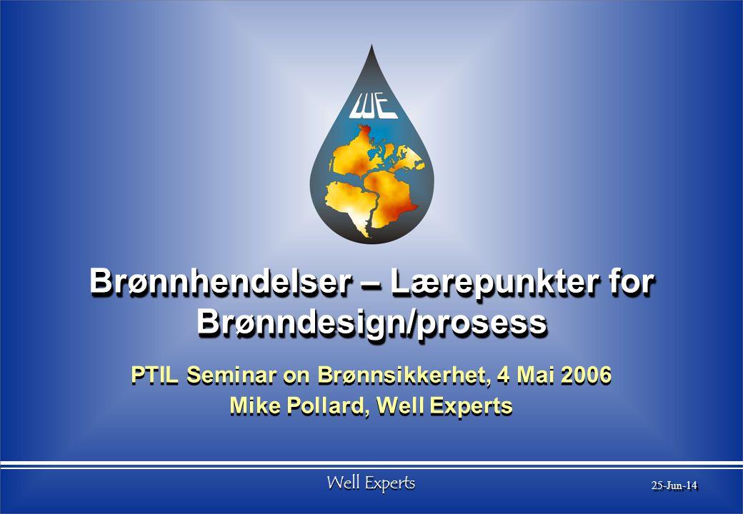 Well Experts 25-Jun-14 Brønnhendelser – Lærepunkter for Brønndesign/prosess PTIL Seminar on Brønnsikkerhet, 4 Mai 2006 Mike Pollard, Well Experts PTIL Seminar on Brønnsikkerhet, 4 Mai 2006 Mike Pollard, Well Experts