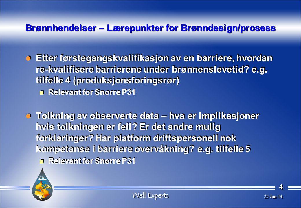 Well Experts 4 4 25-Jun-14 Brønnhendelser – Lærepunkter for Brønndesign/prosess  Etter førstegangskvalifikasjon av en barriere, hvordan re-kvalifisere barrierene under brønnenslevetid.