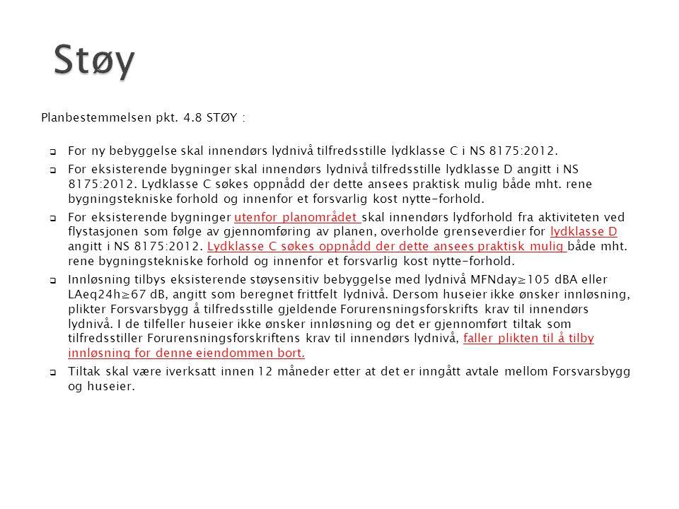 Planbestemmelsen pkt. 4.8 STØY :  For ny bebyggelse skal innendørs lydnivå tilfredsstille lydklasse C i NS 8175:2012.  For eksisterende bygninger sk