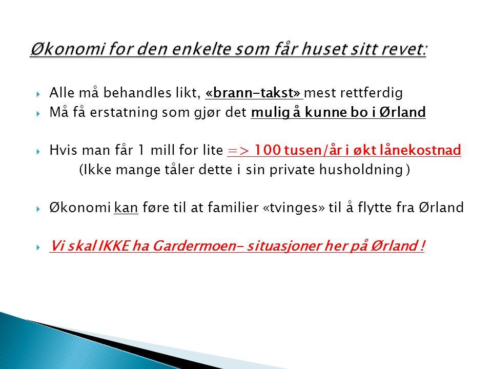  Alle må behandles likt, «brann-takst» mest rettferdig  Må få erstatning som gjør det mulig å kunne bo i Ørland  Hvis man får 1 mill for lite => 10