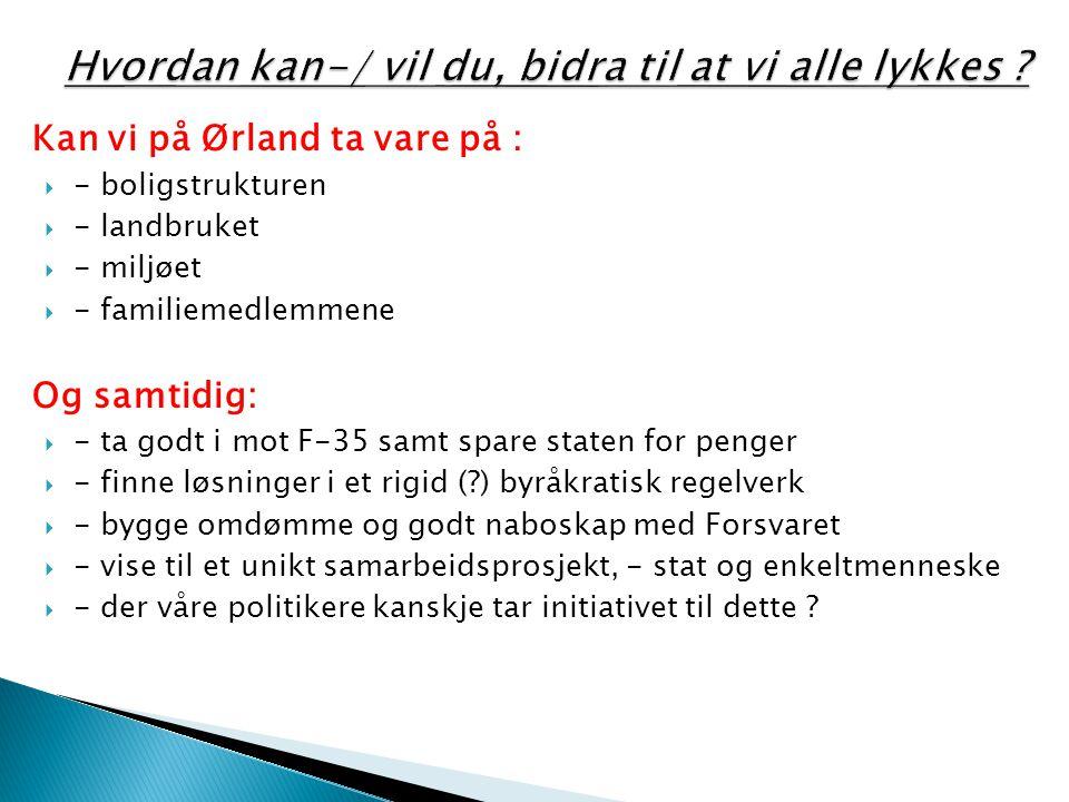 Kan vi på Ørland ta vare på :  - boligstrukturen  - landbruket  - miljøet  - familiemedlemmene Og samtidig:  - ta godt i mot F-35 samt spare stat