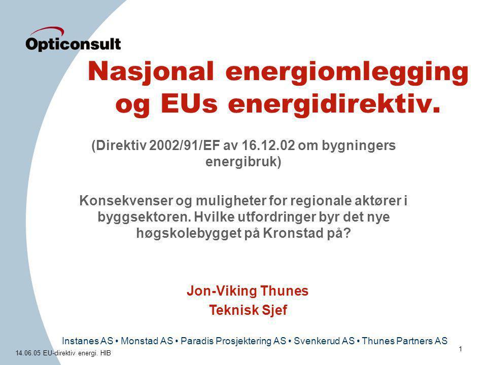 Instanes AS • Monstad AS • Paradis Prosjektering AS • Svenkerud AS • Thunes Partners AS 14.06.05 EU-direktiv energi. HIB 1 Nasjonal energiomlegging og