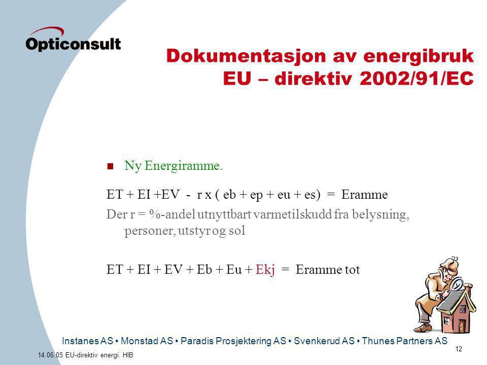 Instanes AS • Monstad AS • Paradis Prosjektering AS • Svenkerud AS • Thunes Partners AS 12 14.06.05 EU-direktiv energi. HIB Dokumentasjon av energibru