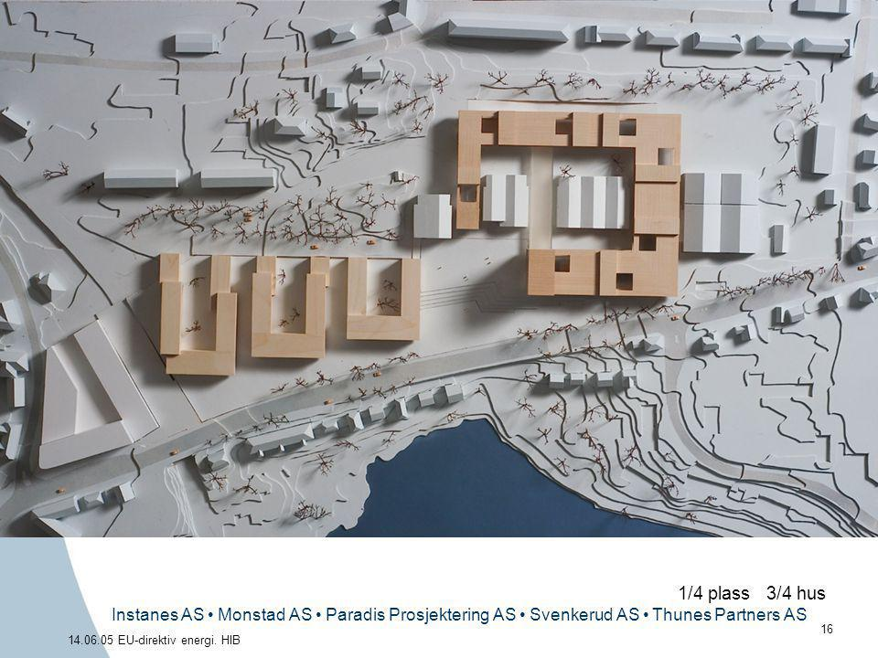 Instanes AS • Monstad AS • Paradis Prosjektering AS • Svenkerud AS • Thunes Partners AS 16 14.06.05 EU-direktiv energi. HIB 1/4 plass 3/4 hus