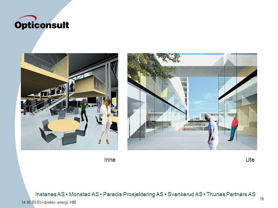 Instanes AS • Monstad AS • Paradis Prosjektering AS • Svenkerud AS • Thunes Partners AS 18 14.06.05 EU-direktiv energi. HIB UteInne