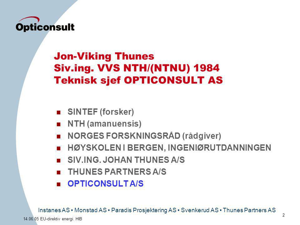 Instanes AS • Monstad AS • Paradis Prosjektering AS • Svenkerud AS • Thunes Partners AS 2 14.06.05 EU-direktiv energi. HIB Jon-Viking Thunes Siv.ing.