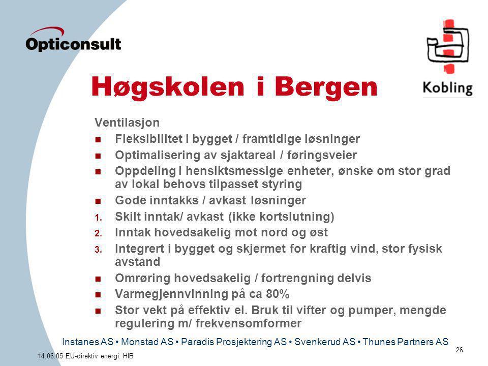 Instanes AS • Monstad AS • Paradis Prosjektering AS • Svenkerud AS • Thunes Partners AS 26 14.06.05 EU-direktiv energi. HIB Høgskolen i Bergen Ventila