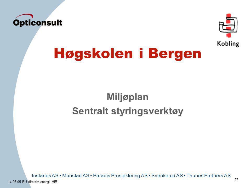 Instanes AS • Monstad AS • Paradis Prosjektering AS • Svenkerud AS • Thunes Partners AS 14.06.05 EU-direktiv energi. HIB 27 Høgskolen i Bergen Miljøpl