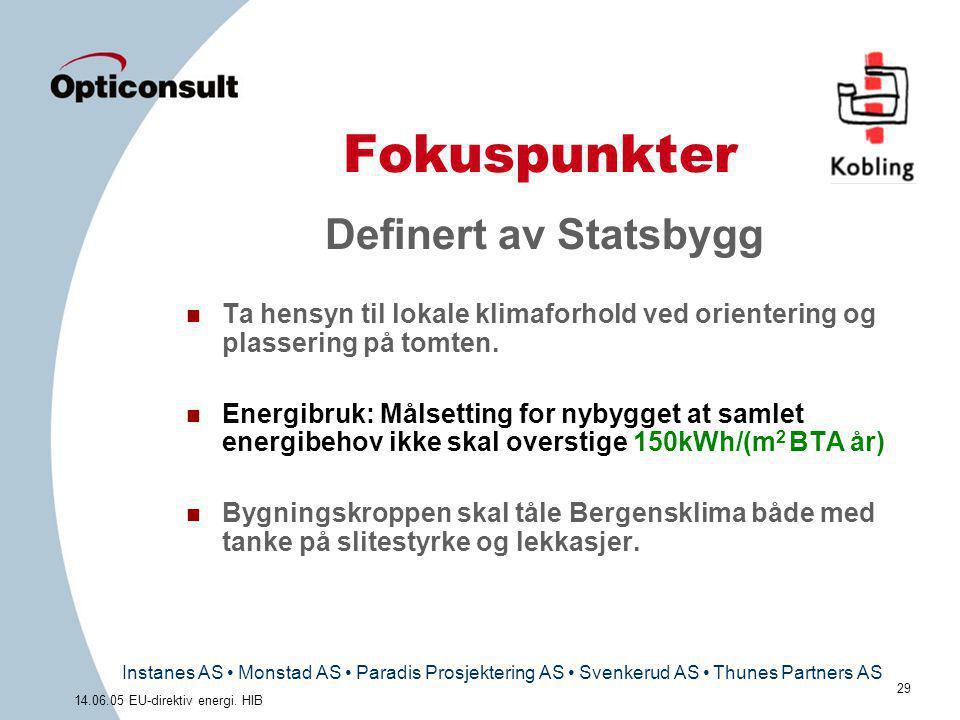 Instanes AS • Monstad AS • Paradis Prosjektering AS • Svenkerud AS • Thunes Partners AS 29 14.06.05 EU-direktiv energi. HIB Fokuspunkter Definert av S