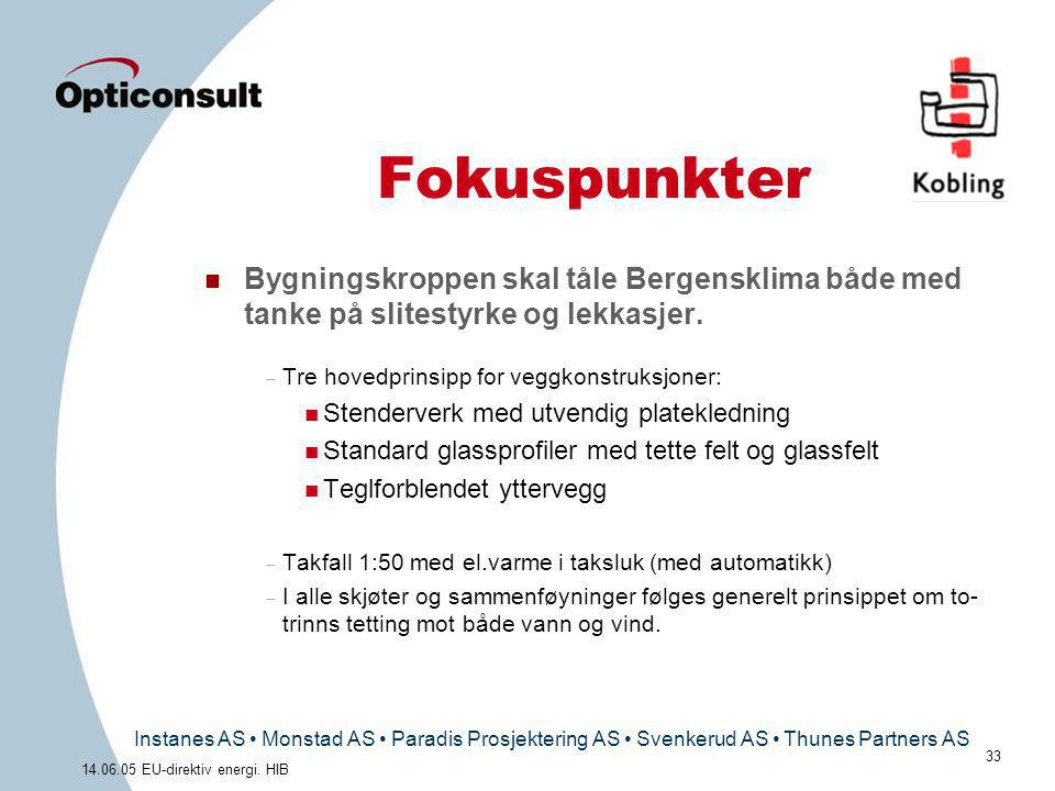 Instanes AS • Monstad AS • Paradis Prosjektering AS • Svenkerud AS • Thunes Partners AS 33 14.06.05 EU-direktiv energi. HIB Fokuspunkter n Bygningskro