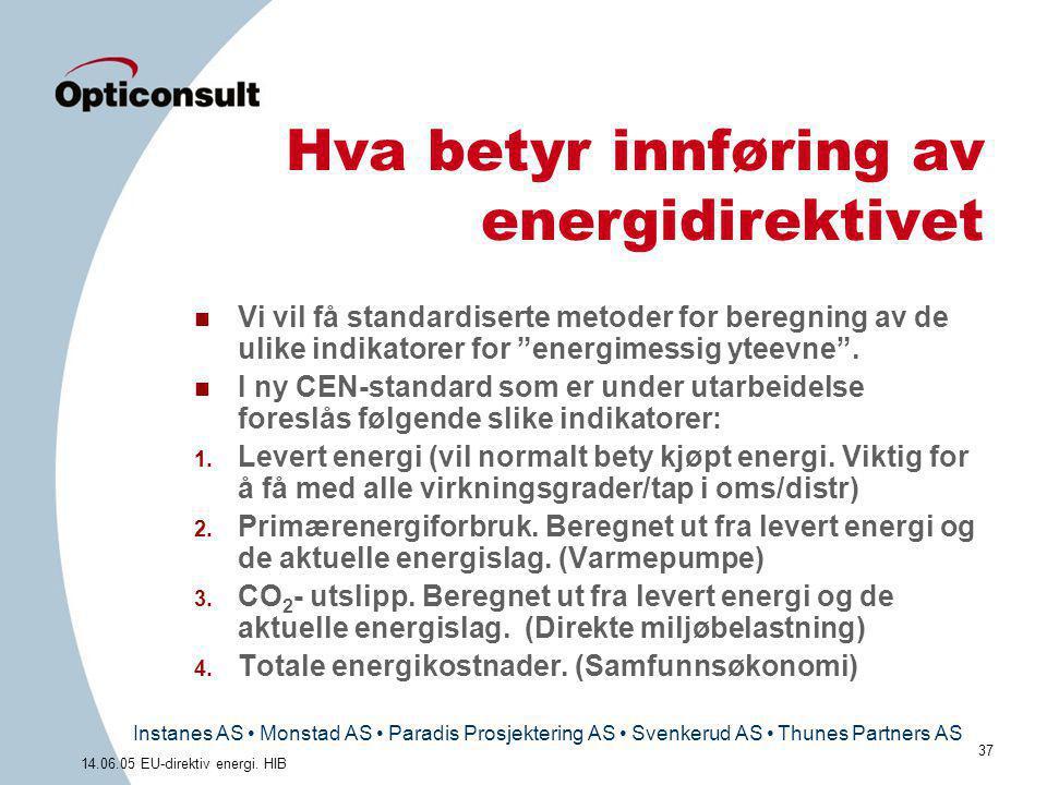 Instanes AS • Monstad AS • Paradis Prosjektering AS • Svenkerud AS • Thunes Partners AS 37 14.06.05 EU-direktiv energi. HIB Hva betyr innføring av ene