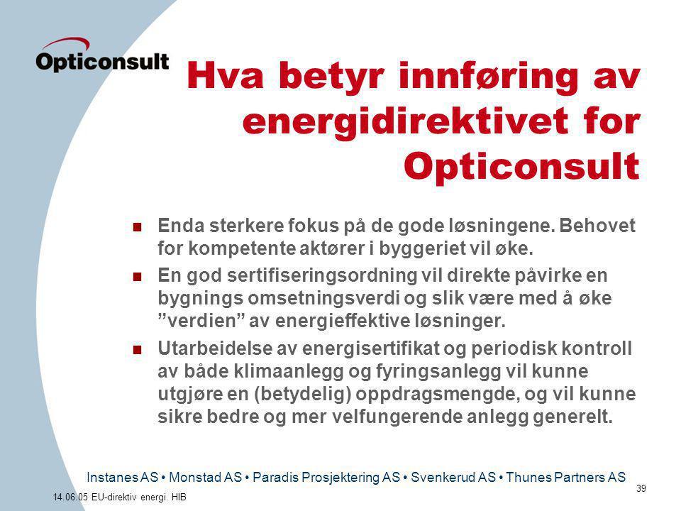 Instanes AS • Monstad AS • Paradis Prosjektering AS • Svenkerud AS • Thunes Partners AS 39 14.06.05 EU-direktiv energi. HIB Hva betyr innføring av ene