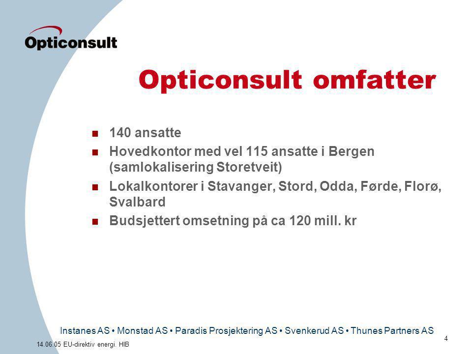 Instanes AS • Monstad AS • Paradis Prosjektering AS • Svenkerud AS • Thunes Partners AS 4 14.06.05 EU-direktiv energi. HIB Opticonsult omfatter n 140