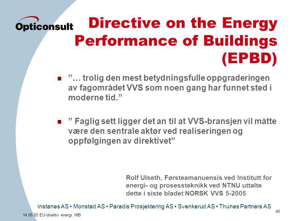 Instanes AS • Monstad AS • Paradis Prosjektering AS • Svenkerud AS • Thunes Partners AS 40 14.06.05 EU-direktiv energi. HIB Directive on the Energy Pe