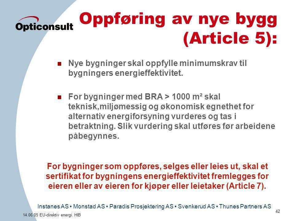 Instanes AS • Monstad AS • Paradis Prosjektering AS • Svenkerud AS • Thunes Partners AS 42 14.06.05 EU-direktiv energi. HIB Oppføring av nye bygg (Art