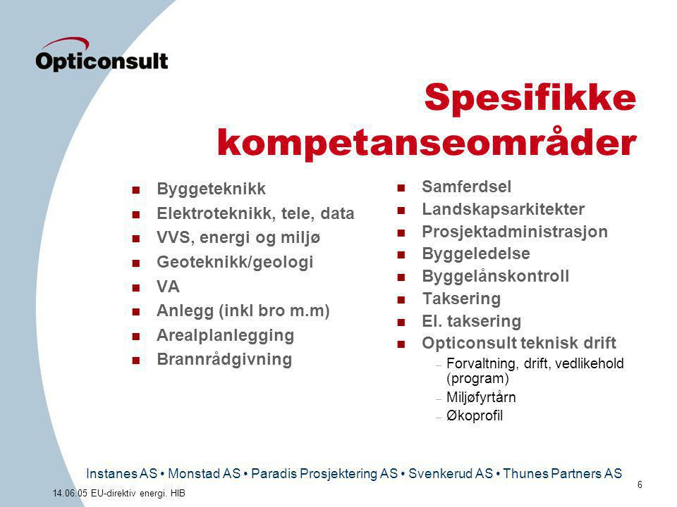 Instanes AS • Monstad AS • Paradis Prosjektering AS • Svenkerud AS • Thunes Partners AS 6 14.06.05 EU-direktiv energi. HIB Spesifikke kompetanseområde