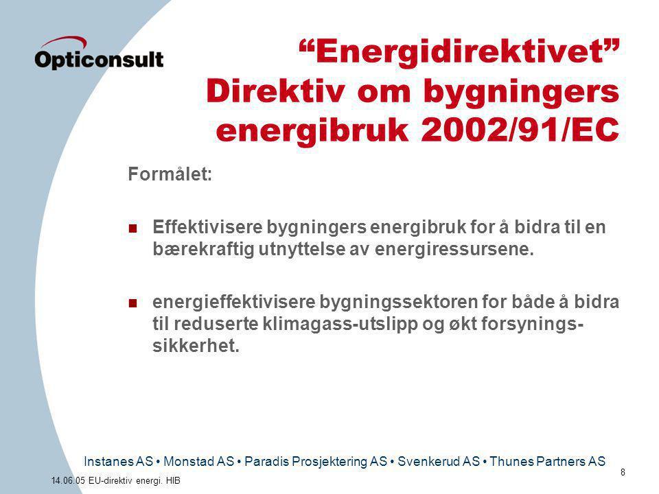 "Instanes AS • Monstad AS • Paradis Prosjektering AS • Svenkerud AS • Thunes Partners AS 8 14.06.05 EU-direktiv energi. HIB ""Energidirektivet"" Direktiv"