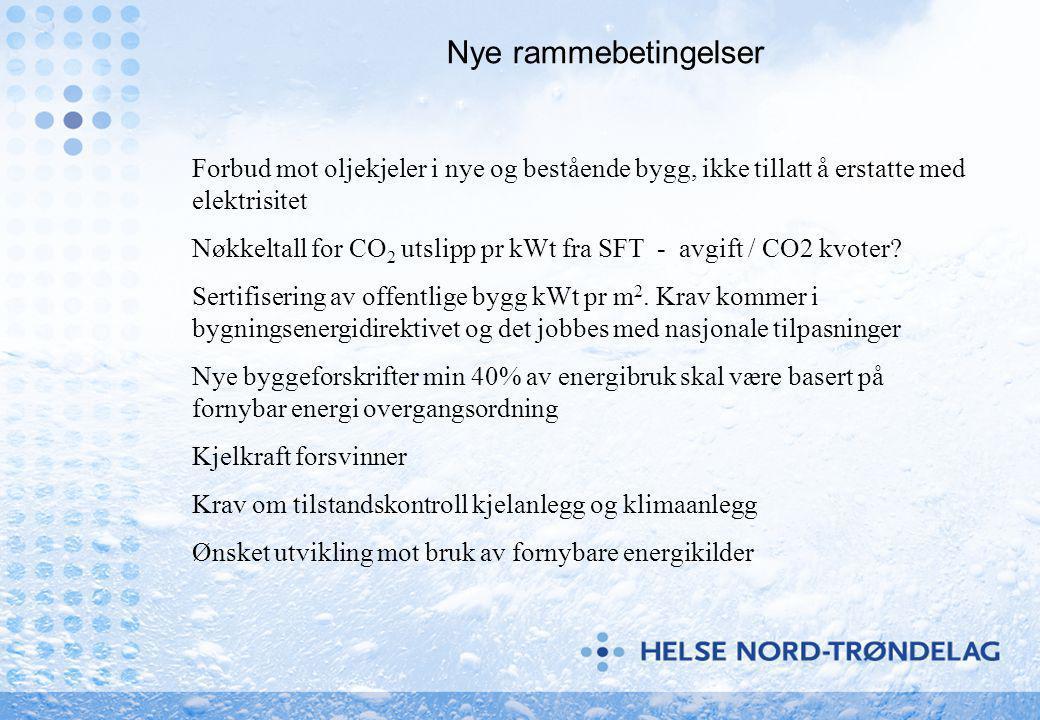 Nye rammebetingelser Forbud mot oljekjeler i nye og bestående bygg, ikke tillatt å erstatte med elektrisitet Nøkkeltall for CO 2 utslipp pr kWt fra SFT - avgift / CO2 kvoter.