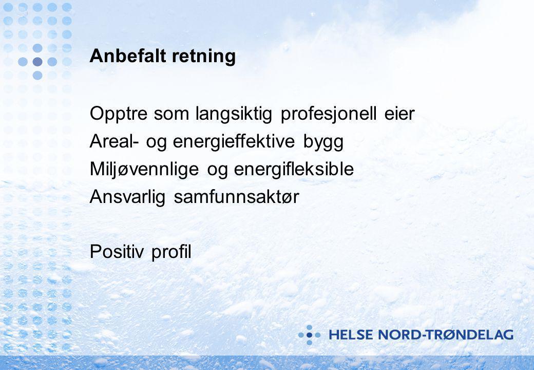 Anbefalt retning Opptre som langsiktig profesjonell eier Areal- og energieffektive bygg Miljøvennlige og energifleksible Ansvarlig samfunnsaktør Positiv profil