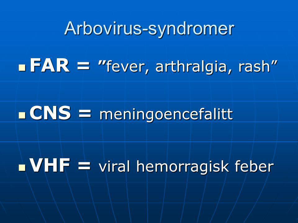 """Arbovirus-syndromer  FAR = """"fever, arthralgia, rash""""  CNS = meningoencefalitt  VHF = viral hemorragisk feber"""