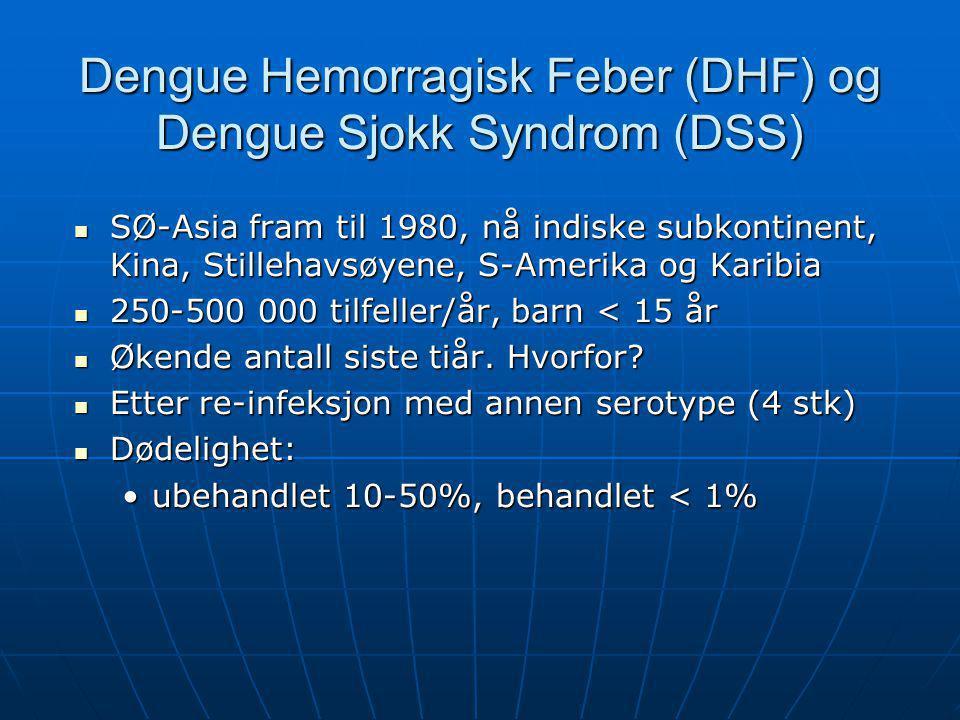 Dengue Hemorragisk Feber (DHF) og Dengue Sjokk Syndrom (DSS)  SØ-Asia fram til 1980, nå indiske subkontinent, Kina, Stillehavsøyene, S-Amerika og Kar