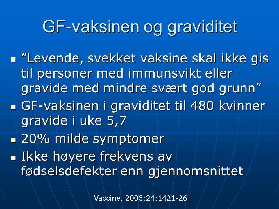 """GF-vaksinen og graviditet  """"Levende, svekket vaksine skal ikke gis til personer med immunsvikt eller gravide med mindre svært god grunn""""  GF-vaksine"""