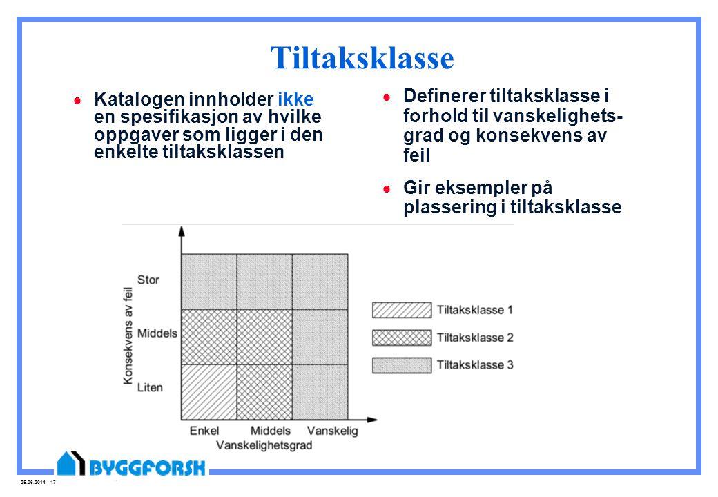25.06.2014 17 Tiltaksklasse  Katalogen innholder ikke en spesifikasjon av hvilke oppgaver som ligger i den enkelte tiltaksklassen  Definerer tiltaks