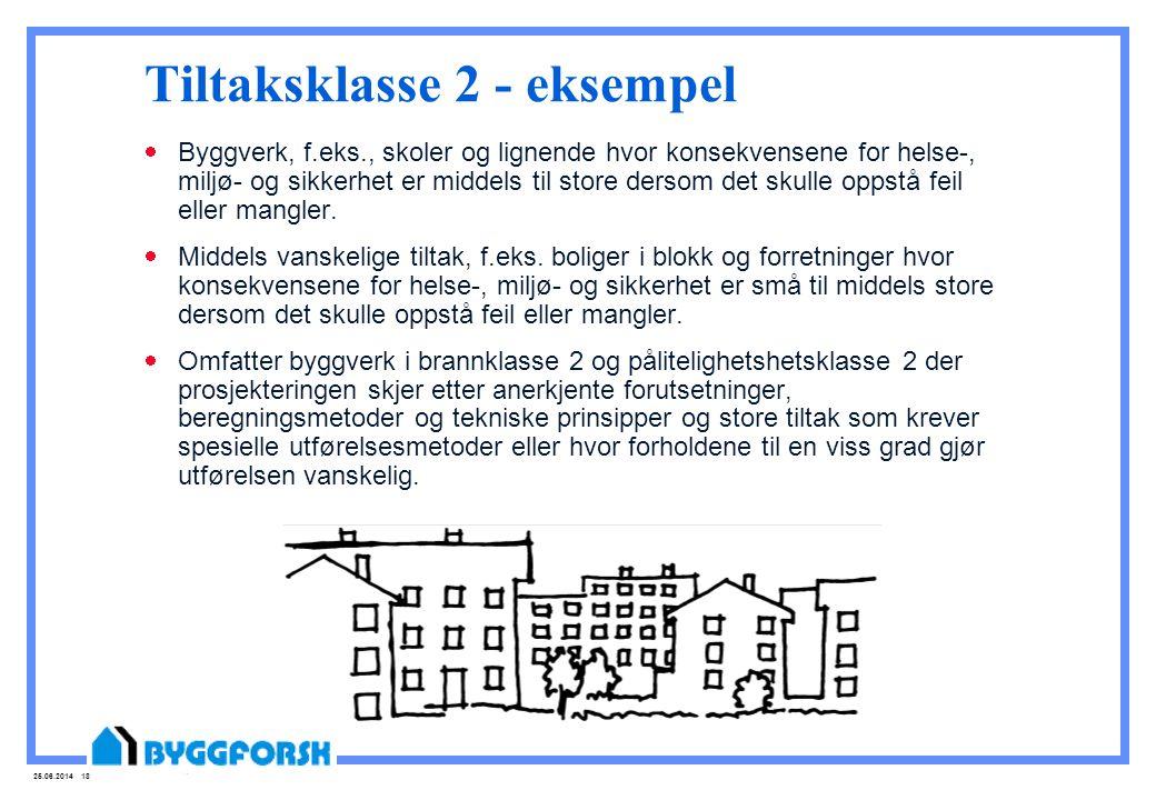 25.06.2014 18 Tiltaksklasse 2 - eksempel  Byggverk, f.eks., skoler og lignende hvor konsekvensene for helse-, miljø- og sikkerhet er middels til stor