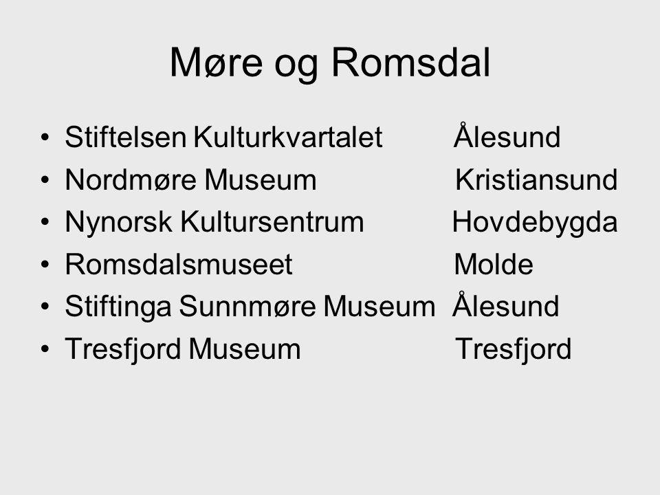 •Stiftelsen Kulturkvartalet Ålesund •Nordmøre Museum Kristiansund •Nynorsk Kultursentrum Hovdebygda •Romsdalsmuseet Molde •Stiftinga Sunnmøre Museum Ålesund •Tresfjord Museum Tresfjord
