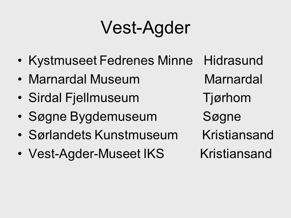•Kystmuseet Fedrenes Minne Hidrasund •Marnardal Museum Marnardal •Sirdal Fjellmuseum Tjørhom •Søgne Bygdemuseum Søgne •Sørlandets Kunstmuseum Kristiansand •Vest-Agder-Museet IKS Kristiansand