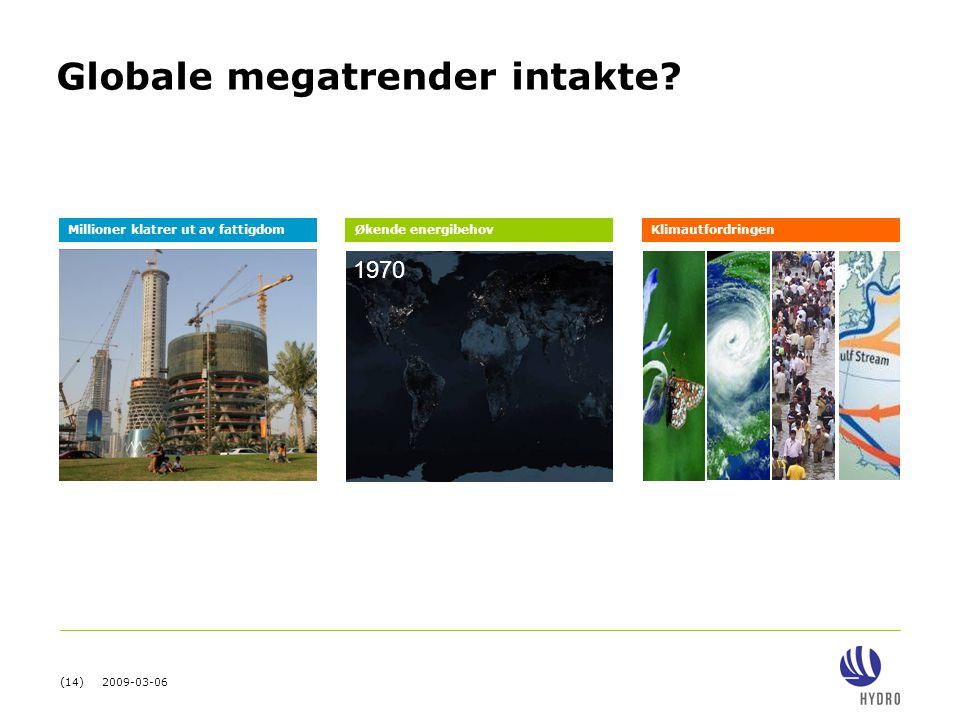 (14) 2009-03-06 2000 Globale megatrender intakte? 1970 Millioner klatrer ut av fattigdomØkende energibehovKlimautfordringen