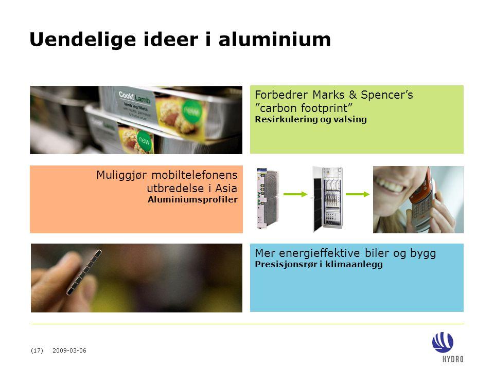 """(17) 2009-03-06 Uendelige ideer i aluminium Muliggjør mobiltelefonens utbredelse i Asia Aluminiumsprofiler Forbedrer Marks & Spencer's """"carbon footpri"""