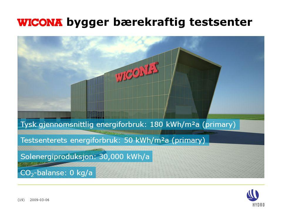 (19) 2009-03-06 bygger bærekraftig testsenter Tysk gjennomsnittlig energiforbruk: 180 kWh/m²a (primary) Testsenterets energiforbruk: 50 kWh/m²a (prima