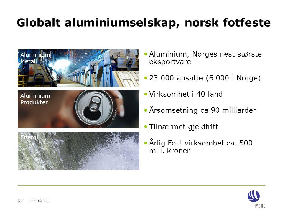 (2) 2009-03-06 Globalt aluminiumselskap, norsk fotfeste Aluminium Metall Aluminium Produkter Energi • Aluminium, Norges nest største eksportvare • 23