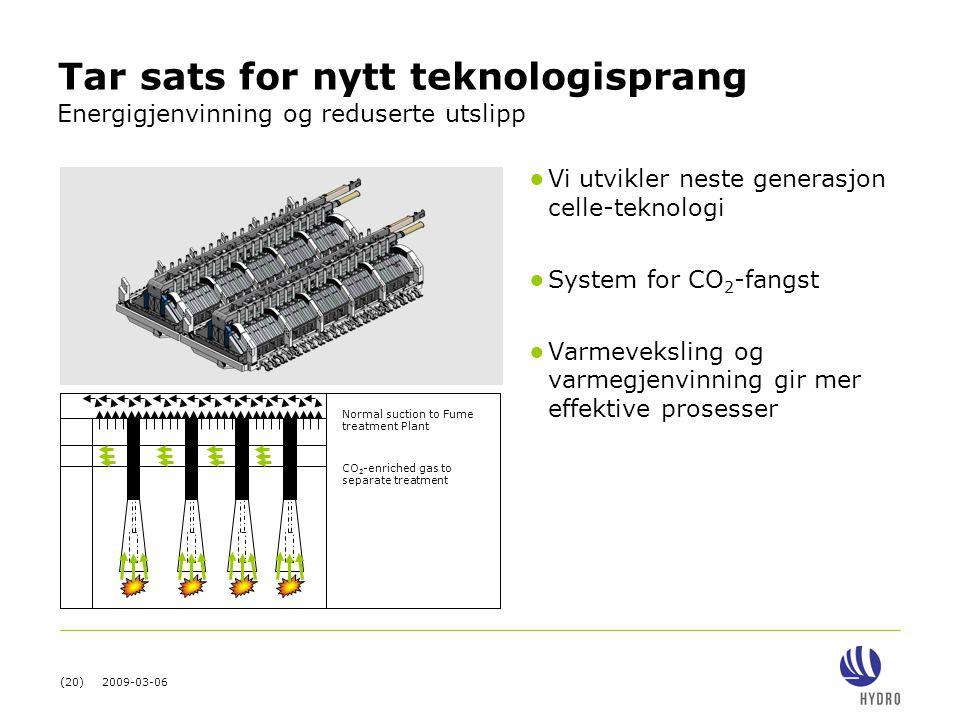 (20) 2009-03-06 ● Vi utvikler neste generasjon celle-teknologi ● System for CO 2 -fangst ● Varmeveksling og varmegjenvinning gir mer effektive prosess