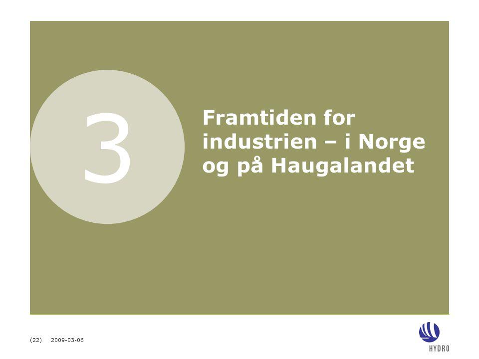 (22) 2009-03-06 3 Framtiden for industrien – i Norge og på Haugalandet